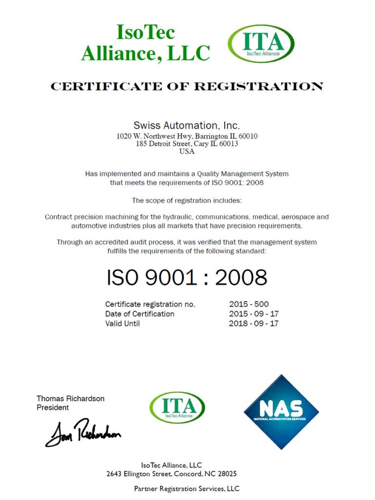 Swiss Automation ISO Certificate