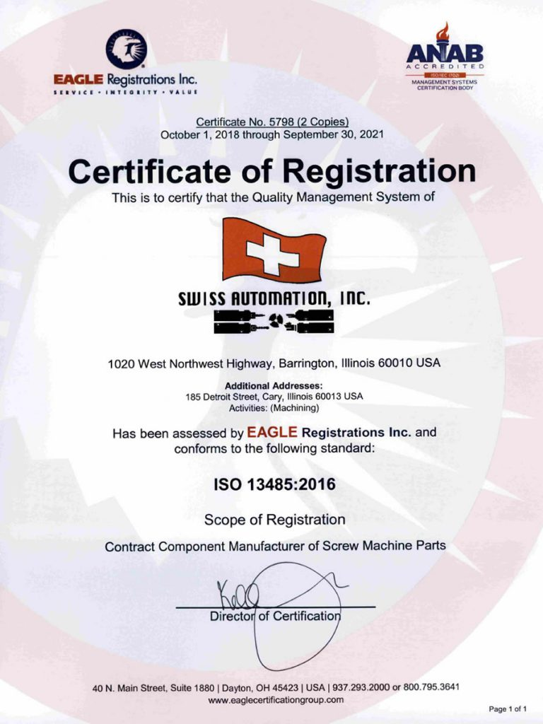 Swiss Automation Inc MED Certificate