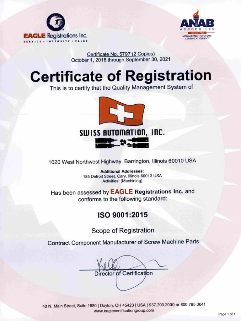 Swiss Automation Inc QMS Certificate